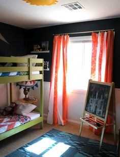 Small Shared Boy and Girl's Bedroom: Vintage Disneyland Room Reveal - Persia Lou Boy And Girl Shared Room, Boy Girl Room, Deco Kids, Disney Rooms, Shared Bedrooms, Girls Bedroom, Bedroom Ideas, Room Colors, Colours