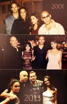 Fast & the Furious Cast through the years, Paul Walker, Vin Diesel, Michelle Rodriguez and Jordanna Brewster.love you Paul walker :) rest in peace Vin Diesel, Fast And Furious Cast, The Furious, Beau Film, Michelle Rodriguez, Gal Gadot, Jessy James, Movie Stars, Movie Tv