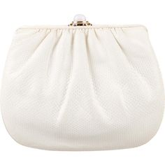 Pre-owned Judith Leiber Karung Evening Clutch ($225) ❤ liked on Polyvore featuring bags, handbags, clutches, neutrals, white coin purse, special occasion handbags, change purse, white handbags and white hand bags