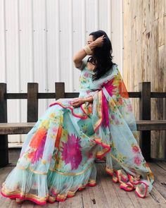 Apr 2020 - Excited to share the latest addition to my shop: Party wear sky blue colore organza silk printed saree with ruffles style casual saree wedding wear saree Organza Saree, Net Saree, Silk Sarees, Saris, Lace Saree, Drape Sarees, Bandhani Saree, White Saree, Saree Wedding