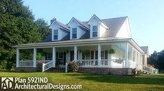 #farmhouse plan 5921ND gives you 3 or 4 beds and a huge optional second floor game room.  2,000+ sq. ft. of living space