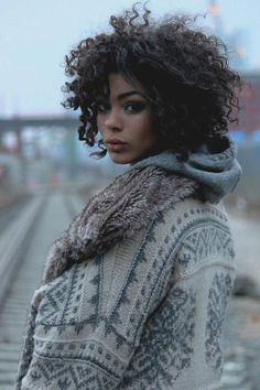 Cute curly hair.  Great sweater