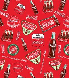 Coca Cola Allover Cotton Fabric: