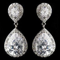 Bridal Crystal Earrings Bridal Cubic Zirconica by AniandJonBridal