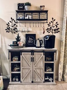 Outstanding DIY Coffee Bar Ideas for Your Cozy Home / Coffee Shop - Awesome Coffee Bar Ideas that Will Makes All Coffee Lovers Falling in Love TAGS: Coffee bar ideas, Coffee station kitchen, DIY Coffee bar in kitchen, Farmhouse coffee bar, Keurig station Coffee Station Kitchen, Coffee Bars In Kitchen, Coffee Bar Home, Home Coffee Stations, Coffee Bar Ideas, Coffee Shop, Coffee Cozy, Coffee Bar Station, Morning Coffee