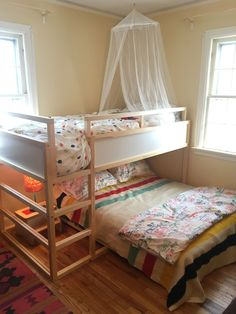 We decided on the Kura bed from IKEA but put a double bed underneath for reading bedtime stories. There isn't much headroom for adults but it's great for the kids. I was also pleasantly surprised by the bedding at IKEA. These two duvets Kura Cama Ikea, Ikea Kura Hack, Ikea Hacks, Ikea Bunk Bed Hack, Ikea Trofast, Ikea Kids Room, Kids Room Paint, Kids Rooms, Ikea Beds For Kids