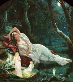 John Simmons (1823 - 1876) - Titania sleeping in the moonlight protected by her fairies