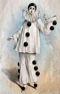 Use the costumes of stock characters such Pierrot, Harlequin, and Columbine as inspiration. Costumes, How to Do Keka❤❤❤ Pierrot Costume, Pierrot Clown, Jester Costume, Circus Clown, Circus Theme, Harlequin Costume, Stilt Costume, Image Halloween, Stock Character