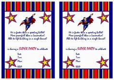 Superman FREE Printable Birthday Party Invitations love it