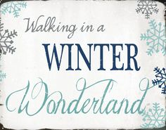 Christmas Print Walking In A Winter Wonderland X Blue Aqua Gray
