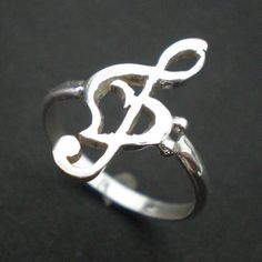 Music Treble Clef Bass Clef Ring - Musical Note Heart Ring - Unique Cute Jewelry #Handmade #Statement