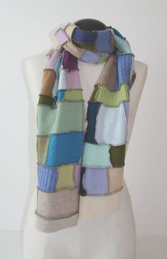 Recycled Cashmere Patchwork Scarf Wide by rookierags on etsy