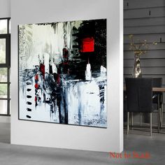 Large Abstract Painting Black and White by ModernArtHomeDecor
