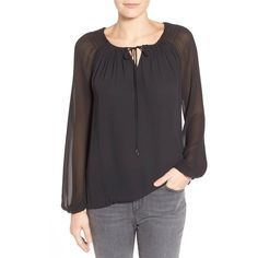 T Tahari 'Beckett' Tie Neck Peasant Blouse ($78) ❤ liked on Polyvore featuring tops, blouses, black, long sleeve tie neck blouse, neck tie blouse, keyhole blouse, peasant tops and necktie blouse
