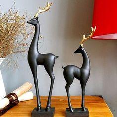 热销☆新品特惠 44公分特大号树脂金角鹿创意摆件家居装饰品D1194