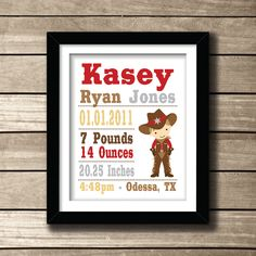 Cowboy Birthday Boy Themed Baby Name Nursery by AmyRoseDesigns