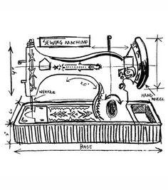 Tim Holtz red rubber stamp: sewing machine sketch - Joann.com