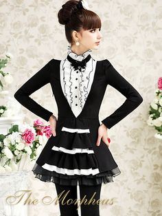 Morpheus Boutique  - Black White Vintage Ruffle High Collar Shoulder Layer Shirt Top