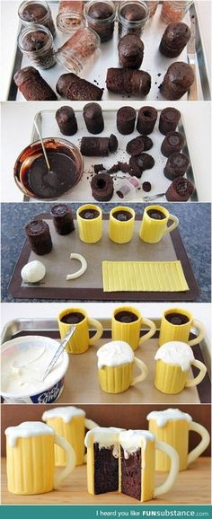 Funny pictures about Beer Mug Cupcakes. Oh, and cool pics about Beer Mug Cupcakes. Also, Beer Mug Cupcakes photos. Mug Cupcake, Cupcake Cakes, Cup Cakes, Coffee Cupcakes, Muffin Cupcake, Cake Fondant, Cupcake Ideas, Cookies Et Biscuits, Cake Cookies