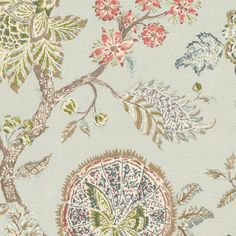 On the Bright Side - Mist:  This floral fabric has teal, green and pink flowers on a light blue background.