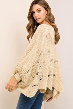 Scalloped Edge Batwing Sweater Top