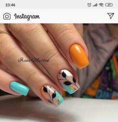 Glam Nails, Fancy Nails, Beauty Nails, Star Nail Art, Gel Nail Art, Nail Polish, Fall Acrylic Nails, Autumn Nails, Multicolored Nails