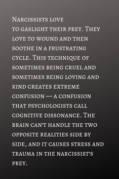 Narcissists gaslight to the point that their prey ends up in a state of cognitive dissonance Narcissistic People, Narcissistic Behavior, Narcissistic Abuse Recovery, Narcissistic Sociopath, Narcissistic Personality Disorder, Narcissistic Husband, Abusive Relationship, Toxic Relationships, Relationship Tips