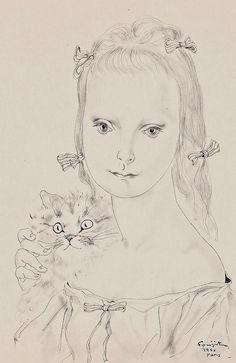 Jeune fille au chat, 1950, Fujita Tsuguharu / 藤田 嗣治. Japanese  (1886 - 1968)