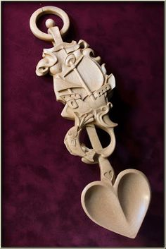 Ship and Horse, double-sided lovespoon, rock maple.   Like the bowl of this spoon.