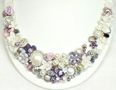 Plum Statement NecklaceIvory and Purple Bib by BrassBoheme on Etsy, $135.00  - Carol, doable with a little shopping for the next couple of months geared toward these colors...?