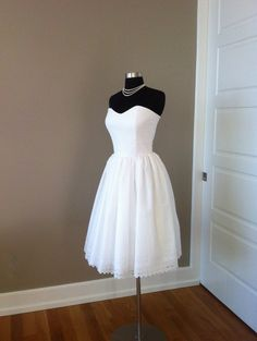 Tea Length Wedding Dress Short Strapless by FrenchKnotCouture, $490.00 - front runner at the mo...LOVE IT!!