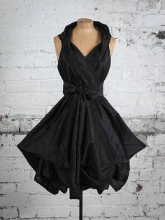 Black Silk Trench Dress