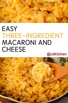 Easy Three-Ingredient Macaroni and Cheese - Recipe is made with milk, pasta, American cheese   CDKitchen.com