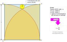 Problem about square and circles Math Tutor, Math Teacher, Geometry Questions, Geometry Problems, Sat Prep, Mathematics, Circles, High School