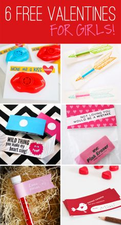 Six Free Class Valentines for girls at PagingSupermom.com