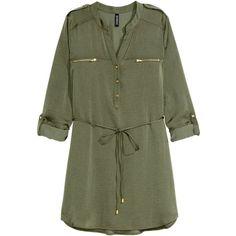 H&M Shirt dress ($31) ❤ liked on Polyvore featuring dresses, khaki green, long sleeve short dress, long sleeve v neck dress, short green dress, h&m and short dresses