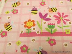 Flannel Fabric  Sweet Bee  1 yard  100% Cotton by SnappyBaby
