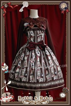 Infanta Rabbit Poker Prints Lolita Jumper Dress $96.99-Cotton Lolita Dresses - My Lolita Dress