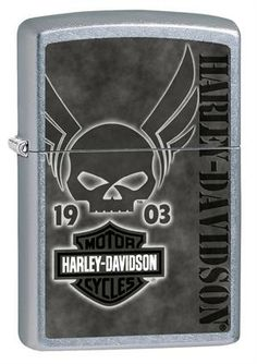 Harley-Davidson® Winged Skull Zippo Lighter 28741 Bic Lighter, Zippo Lighter, Zippo Harley Davidson, Lady Biker, Skulls, Smoking, Fancy, Watches, Sweet