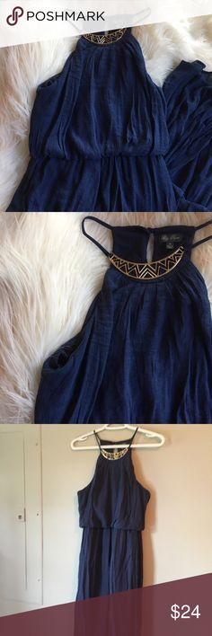 NWOT Navy Blue maxi dress Long maxi dress has never been worn. Super cute for summer. In perfect condition and from a smoke free home. Dresses Maxi