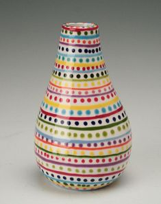 stripes and dots hand painted pottery