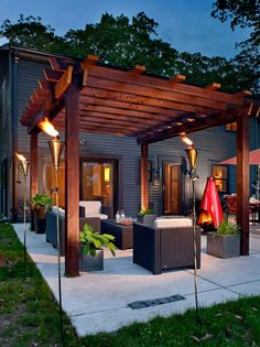 For warm fall nights, this patio will be a romantic place for a couple or just to gather a group of friends for a chat.