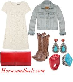 """Red, Turquoise & Lace"" by horsesandheels on Polyvore"