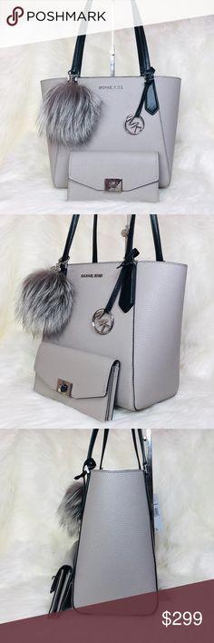 3PCS Michael Kors Montgomery LG Tote Wallet Charms