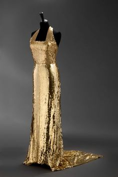 1936 Evening Dress of tulle, embroidered with gold flat sequins by Hanna Podolská, Czech.