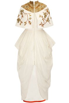 Off white front open dress with embroidered short jacket available only at Pernia's Pop-Up Shop. Oriental Fashion, Indian Fashion, Oriental Style, Latest Designer Sarees, Designer Dresses, Salwar Kameez, Indowestern Gowns, Samant Chauhan, Open Dress
