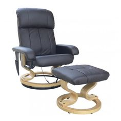 Buy Recliner Massage Chair with Stool Ottoman Brown |Homcom