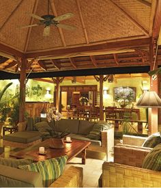 Beautiful Teak Indonesian Furniture in this Jamaican villa. West Indian/Bali styles.