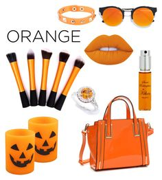 """""""spooky orange"""" by daddy-allahu-akbar ❤ liked on Polyvore featuring beauty, Dasein, LULUS, Dettagli, By Kilian and Lime Crime"""