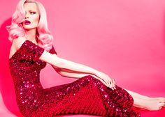 Bright Hot Pink Sequins. #editorial #fashion #hair